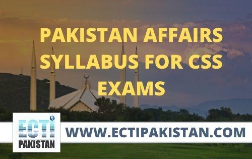 Pakistan Affairs Syllabus for css