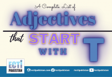 Adjectives Start With T