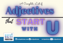 Adjectives start with U